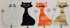 Fused Glass Cat Garden Stakes available at Copper Moon Studio. www.coppermstudio... #fusedglass #coppermoonstudio