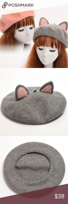 Animal ears Beret > new > bundle & save > use offer button Grey only Pink coming soon! Accessories Hats