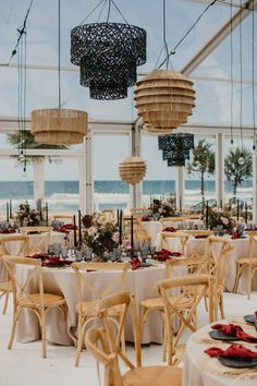 Hanging pendant lighting with naked bulbs and wooden chairs for a Contemporary Coastal Chic Tropical Wedding Wedding News, Chic Wedding, Our Wedding, Clear Marquee, Wooden Chairs, Marquee Wedding, Hanging Pendants, Happy Day, Bulbs