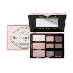 Too Faced Boudoir Eyes Shadow Palette $36 (Boudoir Beauty 2013) Includes Eyeshadows: •Fuzzy Handcuffs (New) •Voulez-Vous (New) •Garter Belt (New) •Sugar Walls (New) •French Tickler (New) •In the Buff •Satin Sheets •Birthday Suit •Lap Dance
