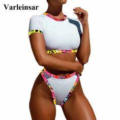 b27bc98009 Short sleeved bathing suits · Aliexpress.com   Buy Female Swimsuit High  Waist Bikini 2018 Women Swimwear Two pieces Bikini