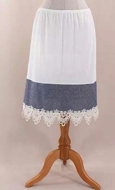 Womens skirt extender slips with denim extension and crochet distressed hem. View all skirt extenders clicking here: http://apostolicclothing.com/54-skirt-extenders