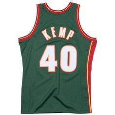 Mitchell & Ness Men's Shawn Kemp Seattle SuperSonics Hardwood Classic... ($130) ❤ liked on Polyvore featuring men's fashion, men's clothing, men's activewear, mens jerseys, mens nba jerseys, men's apparel and mens clothing