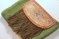 Womens Clutch Felted Beaded Applique Vintage by MaineCoonCrafts, $95.00