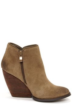d0b6dd5854ab Very Volatile Whitby Khaki Suede Leather Wedge Booties