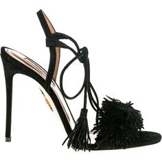"Aquazzura Sandals ""Wild Things\"" Suede Fringe 105mm (29.225 RUB) ❤ liked on Polyvore featuring shoes, sandals, black, black shoes, aquazzura shoes, suede fringe shoes, suede fringe sandals and kohl shoes"
