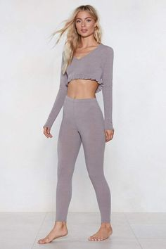 575fc701c09de Nasty Gal What's the Chill Lounge Crop Top and Leggings Set Crop Top And  Leggings,