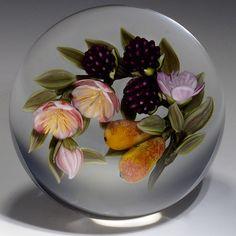"Victor Trabucco paperweight - ""Pears 'N Blackberries"", 2013, 3 1/4""w x 3""t, 24.7 oz. - #0547"