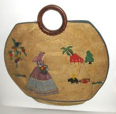 Woven Pineda Applique Straw Purse $55 - QuirkyFinds.com