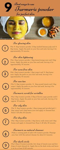 Turmeric face mask is the ultimate herb for your beautiful skin. Let's have a look on homemade turmeric face mask and their golden benefits on skin. skin 10 Turmeric Face Mask For Glowing And Beautiful Skin Homemade Face Masks, Homemade Skin Care, Homemade Beauty, Face Mask Diy, Dyi Face Scrub, Diy Mask For Acne, Homemade Body Scrubs, Facemask Homemade, At Home Face Mask