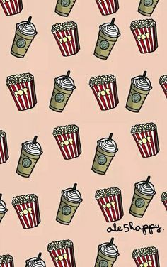 wallpaper, popcorn, and starbucks image
