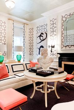 Tobi Fairley: bold black & white living room with pops of coral & jade