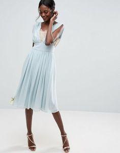 ASOS WEDDING Contrast Lace Insert Midi Dress