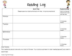 Free Printable Kindergarten Reading Log With Reading Logs : Free Printable Kindergarten Reading Log With Reading Logs Ideas Gallery : Free Coloring Pages for Kids Sight Word Practice, Sight Words, Kindergarten Reading Log, Weekly Reading Logs, Reading Homework, Dear Parents, Kids Writing, Templates Printable Free, Teaching
