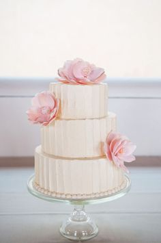 This is my realistic idea for my wedding cake. Its dainty.elegant.buttercream.with a touch of my flowers.