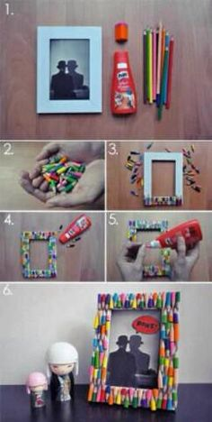 DIY Pencil Picture Frame DIY Picture Frame DIY Home DIY Decor. Well I wouldn& go and break a bunch of perfectly good pencils, but we have enough broken crayons thanks to the kids.Here& a quick and simple way to pretty up an ordinary picture frame and add Kids Crafts, Diy And Crafts, Kids Diy, Easy Crafts, Cadre Photo Diy, Diy Paper, Paper Crafts, Picture Frame Crafts, Picture Frames