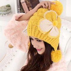 mode farceur belle bowknot des femmes avec un ballon tricot chaud laine chapeau – EUR € 6.26