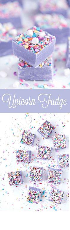 Fudge Unicorn Fudge by Sprinkles for Breakfast! Ah! Cute and delicious!Unicorn Fudge by Sprinkles for Breakfast! Ah! Cute and delicious! Yummy Treats, Sweet Treats, Yummy Food, Fun Food, Köstliche Desserts, Dessert Recipes, Purple Desserts, Rainbow Desserts, Purple Cupcakes