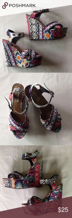 """Steve Madden Platform Heels Bright colors, floral and geometric patterns. About 2"""" platform and 5.5"""" heel height. Steve Madden Shoes Platforms"""