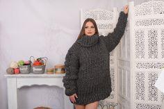 8 Strands Grey Plain Wool Sweater, Chunky Knit Woolen Pullover, Chunky Knit Sweater, Woolen huge Sweater by TheTiffyMohair on Etsy Fluffy Socks, Fluffy Sweater, Thing 1, Winter Socks, Cool Sweaters, Models, Hugs, No Response, Knitwear