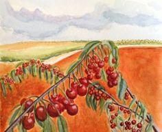 "Saatchi Art Artist Mar Ruiz Bilbao Art; Painting, ""Cherry tree form Catalayud, Zaragoza, Spain"" #art"