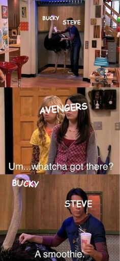 "Bucky and Steve ||| Captain America: Civil War  I laughed so freaking hard at iCarly with this scene. It may be an old ""teen show"" but hubs and I died every time we watched it"