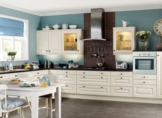 absolute. complete. eye gasm! white cabinets, blue walls, lighted glas cupboards... not so fond of the backsplash, but... OMG!