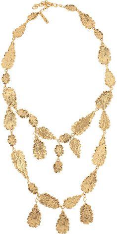 Hammered Goldplated Leaf Necklace