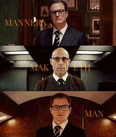 Hwaaaaa- i miss y'all guyss😭💗 Kingsman Film, Kingsman Suits, Eggsy Kingsman, Taron Egerton Kingsman, Kingsman The Secret Service, Men Tumblr, Movies Playing, Colin Firth, Manners