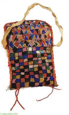 Yoruba Beaded Diviner Bag Apo Ileke Ifa Checkerboard Patterns Nigeria African Type of Objectartifact, beadwork Country of OriginNigeria Pe...