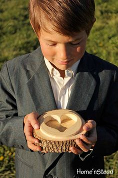 Rustic Wedding Log Ring Box/Pillow Ring Barer Log by HomenStead, $35.00 - love this!!! Hmmm decisions decisions!!