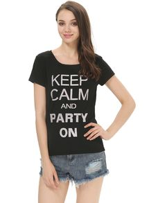 Black Short Sleeve KEEP CALM PARTY ON Print T-Shirt US$15.50