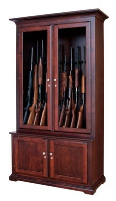 All Wood Gun Cabinet: Available in Solid Oak, Maple, or Cherry-- http://towncofurniture.com/shop/12-gun-cabinet/
