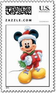 This Disney Christmas postage stamp has Mickey Mouse dressed in his Santa suit.