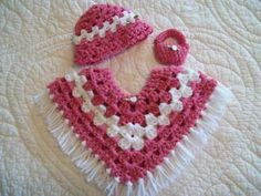 "Doll 3 Piece Poncho Set for 18"" American Girl Doll Crocheted Light Raspberry 