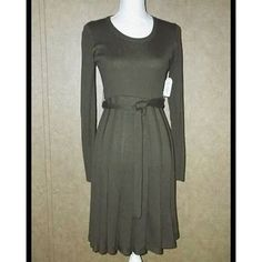 """NWT New Jessica Simpson Olive Green Knit Dress Size XS    • Long Sleeve • Belted • Elbow Patches  100% Acrylic  Machine Wash  Aprox. Measurements Taken Flat  • Shoulders: 15""""  • Length: 37""""  Suggested Retail $128.00   $49.00 Free Shippping USA   To View More Pictures of This Item  Follow Me On FaceBook https://www.facebook.com/Sandragscloset/"""