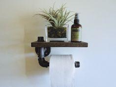 Industrial Black Pipe Toilet Paper Holder Shelf by Mobeedesigns