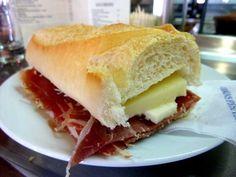 Bocadillo - Spain's answer to fast-food, my all time fav Bocadillo De Jamón ibérico y queso