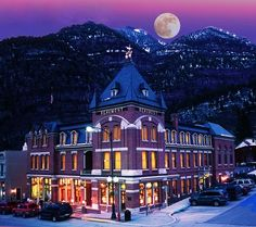 ~Beautiful Snowy Wintery Night  Showing The Famous Beaumont Hotel on Main Street in Ouray, Colorado~