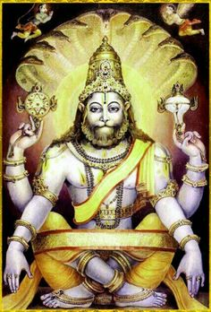 Narasimha (Vishnu) avatar - in a peaceful mood. Protector of his most ardent devotee, Prahlad