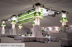 Ever looked up to appreciate your centerpieces?  This is pretty clever:  Classic party rentals white furniture and green upside down flowers Stanlee R. Gatti Designs