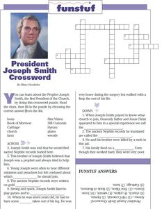 LDS Games Crossword Puzzles Nephi and the Brass Plates Teaching LDS SeminaryBook of