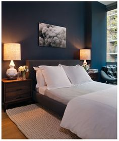 Navy walls, calming, palette I'm drawn to. Symmetry, clean lines are art deco influences. a feature a lot of my pins repeat. I like the hotel feel,the  comfortable but luxe elements. I like statement lighting, prominent artwork, added texture and interest in bedding/ rugs & layering and square bed/ straight lines.