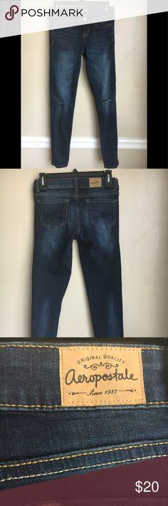 Aeropostale jeans size 0 short Aeropostale jeans size 0 short. Distressed denim holes in both knees. Aeropostale Jeans