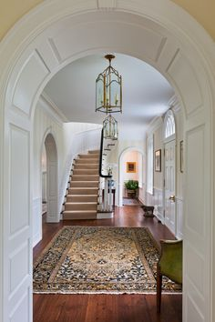 Front Hall with side-facing Stairs (P-Gallery 2 — Peter Zimmerman Architects) Entry Stairs, Entry Foyer, Grand Entryway, Home Interior Design, Interior Decorating, Decorating Ideas, House Goals, Beautiful Interiors, My Dream Home
