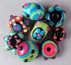 Set of 8 Handmade Lampwork Art Glass Beads by Patti by patticahill, $38.00 ETSY <3<3<3COLOURFUL BEAD SET 2 MAKE YOUR  DESIGNS POP<3<3<3