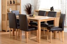Ashbourne Dining Set in Ash Veneer/Brown Faux Leather