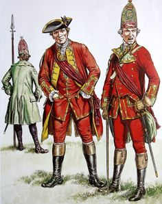British officers Seven Years War. 37th Grenadier officer, centre senior officer 25th foot and Grenadier officer 51st.