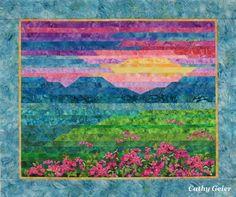 Strip appliqued landscape quilt