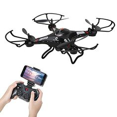 Holy Stone F183W FPV RC Quadcopter Drone with 720P HD Live Video Wifi 120°Wide-angle HD Camera,6-Axis Gyro 2.4 GHz with Altitude Hold, One Key Return and Headless Mode Function RTF, Color Black